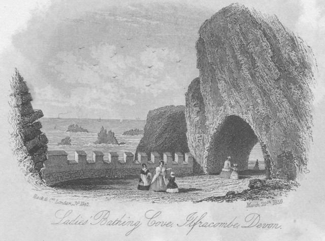 Print of the Ladies Bathing Cove at Ilfracombe